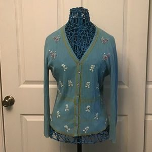 💥PRICE DROP💥 Blue Embroidered Cardgan